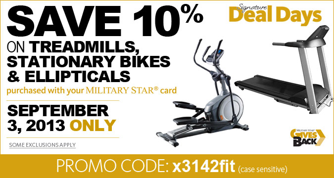 ONE DAY ONLY - 10% Off Exercise equipment with Military Star
