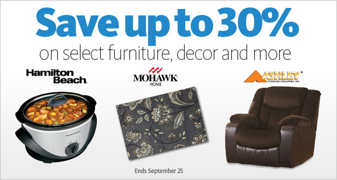 Up to 30% Off select furniture, decor and more
