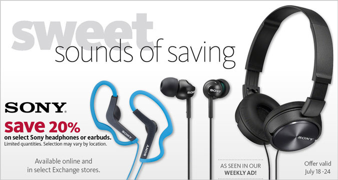 20% Off Sony headphones or earbuds
