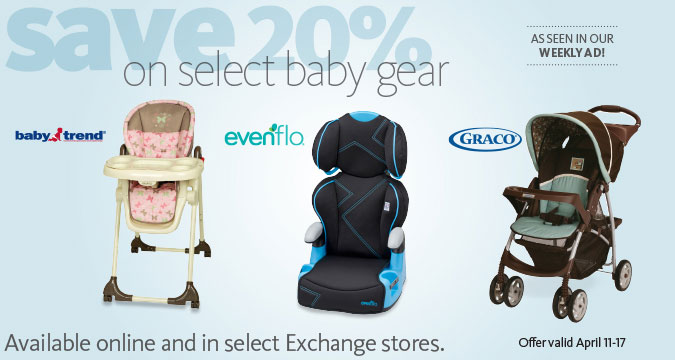 Save 20% off select baby gear