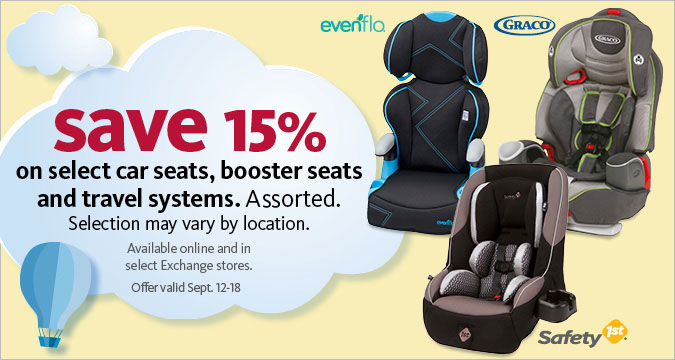 15% Off select car seats, booster seats & travel systems
