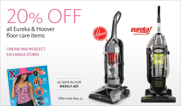 20% Off Eureka & Hoover Floor care items