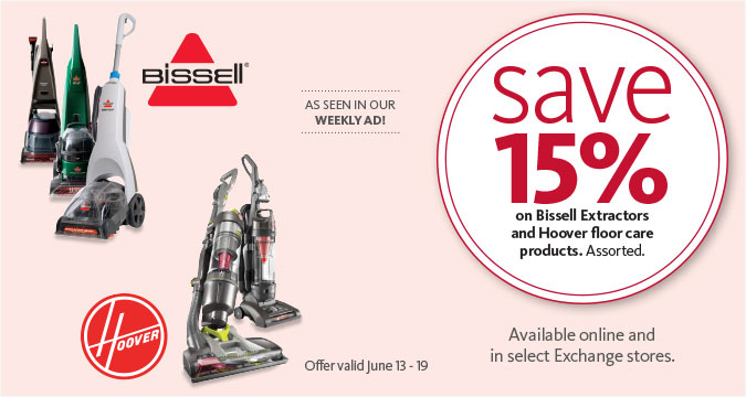 Save 15% on Bissell Extractors and Hoover floor care products